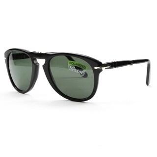 Persol 714 PO0714 Folding Sunglasses 95/58 Black, and Grey Green 54mm Polarized Lens - L