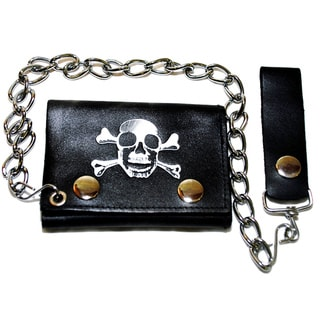 Hollywood Tag Skull/ Crossbones Tri-fold Chain Wallet