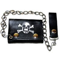 Hollywood Tag Skull/ Crossbones Tri-fold Chain Wallet