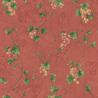 Brewster Burgundy Grape Trail Wallpaper