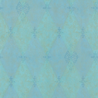 Brewster Aqua Ornate Harlequin Wallpaper