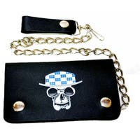 Men's Skull Hat Bi-fold Chain Wallet