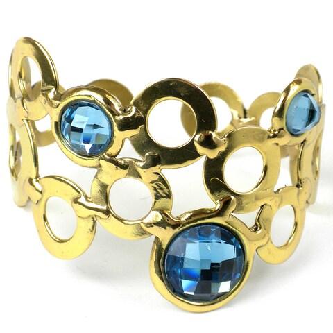 Handmade Sky Blue Bubble Brass Cuff (South Africa)