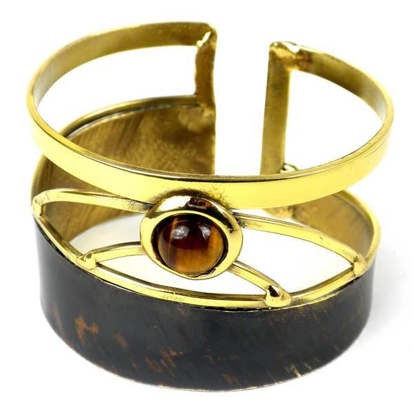 Handmade Suspended Tiger Eye Brass Cuff (South Africa)