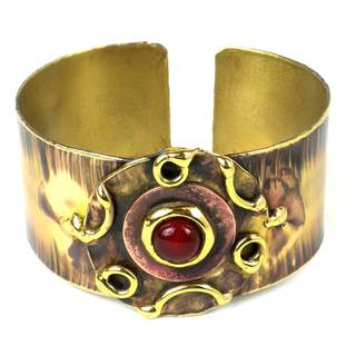 Handcrafted Carnelian Medallion Copper and Brass Cuff (South Africa)