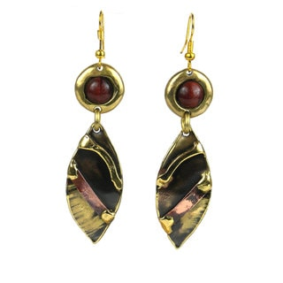 Handmade Red Tiger Eye Reflections Copper and Brass Earrings (South Africa)
