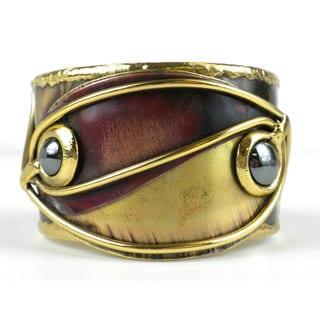 Handmade Continuity Hematite, Copper and Brass Cuff (South Africa)
