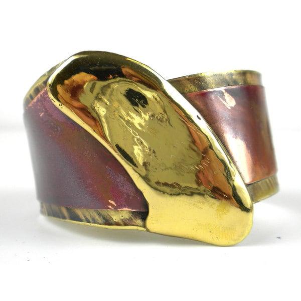 Handmade Brush Stroke Brass and Copper Cuff (South Africa)