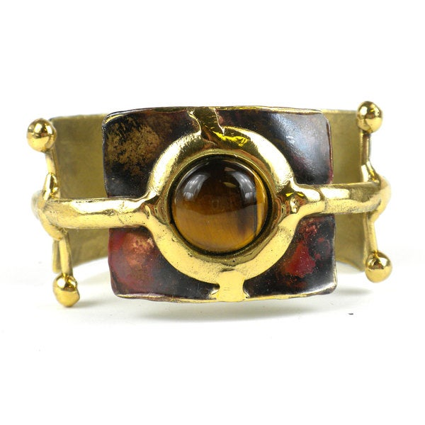 Handmade Gold Tiger Eye Ball and Jack Brass Cuff (South Africa)
