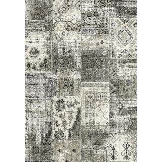 Eternity Patchwork Black Silver Rug (2' x 3'11)