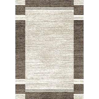 Eternity Bordered Silver Black Rug (2' x 3'11)