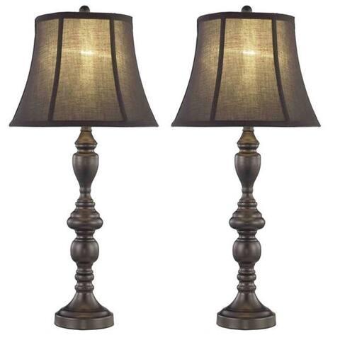 Somette 1-light Black/ Brown Table Lamps (Set of 2)