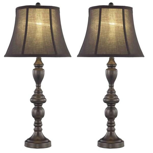 somette 1 light black brown table lamps set of 2 free shipping. Black Bedroom Furniture Sets. Home Design Ideas