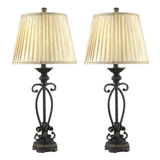 Somette 1-light Black/ Brown Table Lamps (Set of 2)