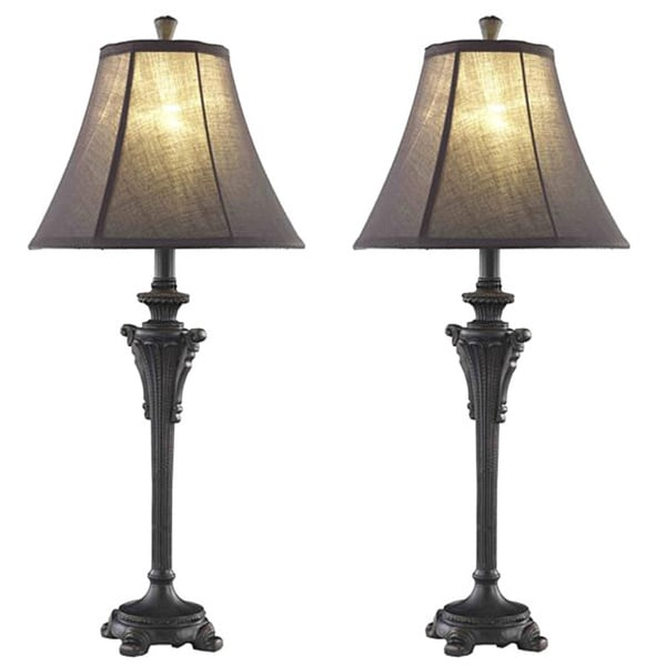 somette 1 light black table lamps set of 2 free shipping today. Black Bedroom Furniture Sets. Home Design Ideas