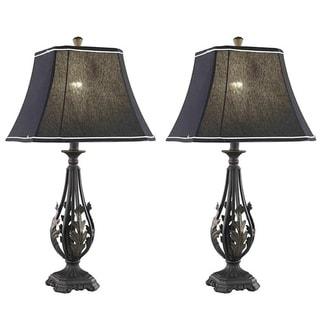 Somette 1-light Black Table Lamps (Set of 2)