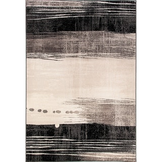Eternity Waves Silver Black Rug (3'11 x 5'7) - 3'11 x 5'7