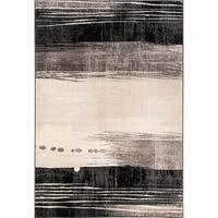 Eternity Waves Silver Black Rug - 3'11 x 5'7