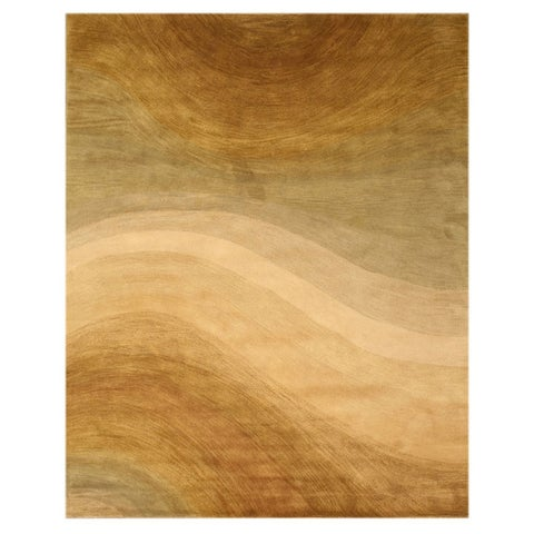 Hand-tufted Wool Gold Contemporary Abstract Morono Rug (5' x 8') - 5' x 8'