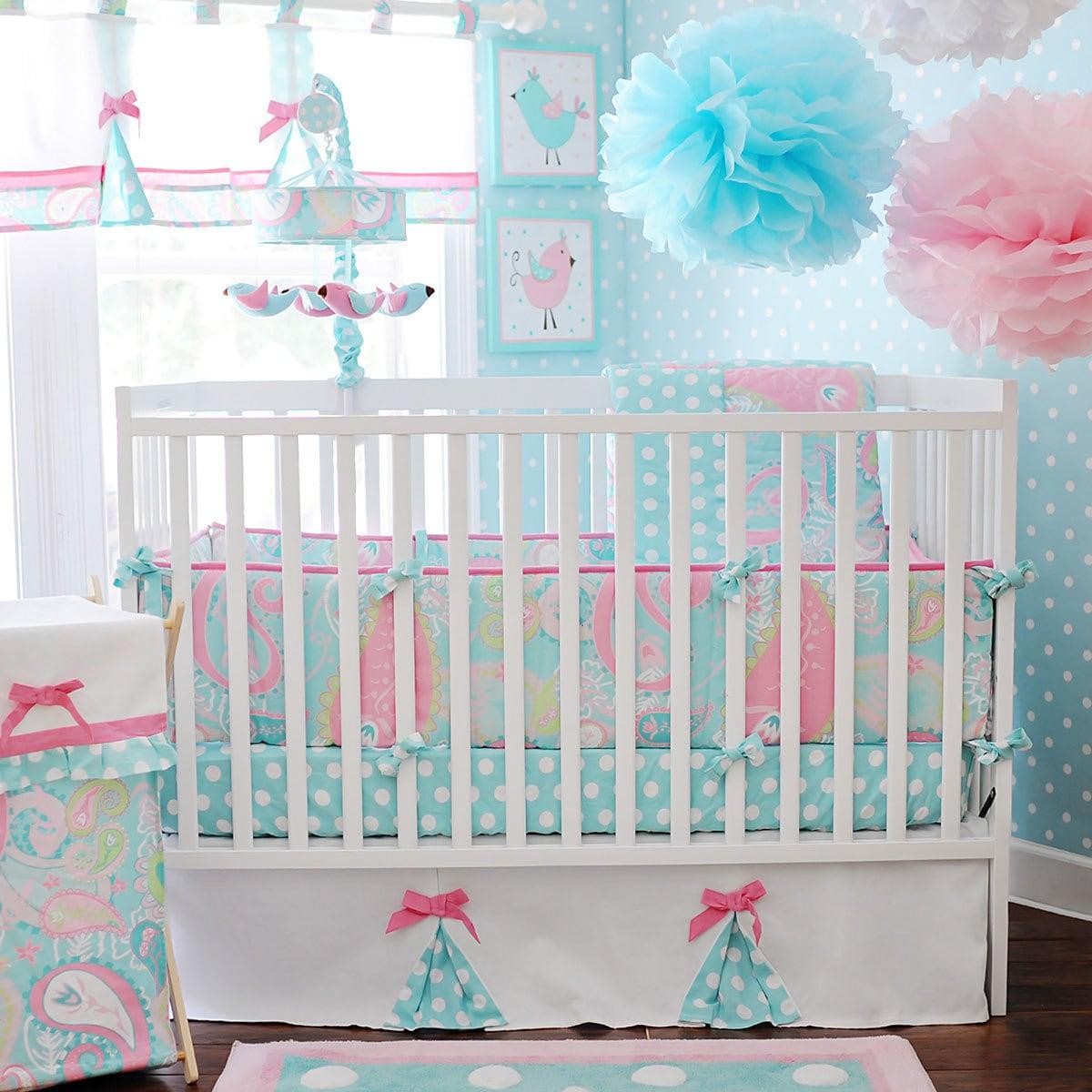 Baby In Aqua 3 Piece Crib Bedding Set