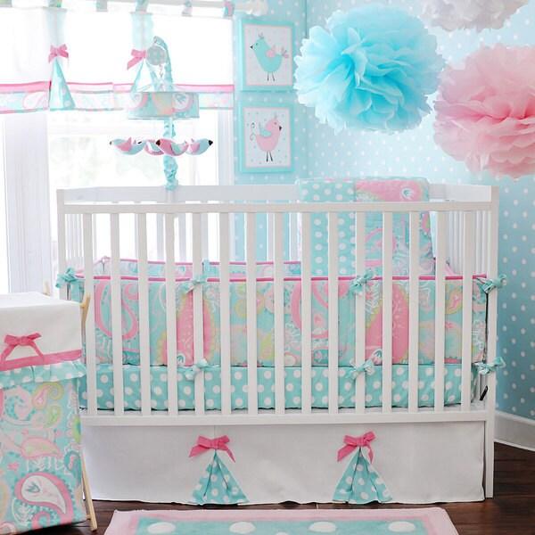 my baby sam pixie baby in aqua 3 piece crib bedding set - Baby Girl Bedding Sets