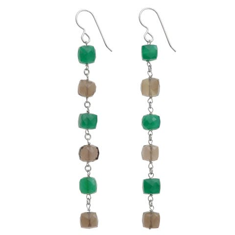Green Chalcedony, Smokey Quartz Silver Gemstone Earrings