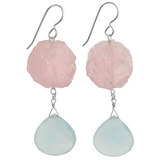 Handmade Ashanti Sterling Silver Aqua Chalcedony and Rose Quartz Earrings (Sri Lanka)