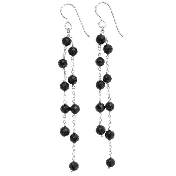 6f88a23a6 Handmade Ashanti Sterling Silver Natural Black Spinel Earrings (Sri Lanka)