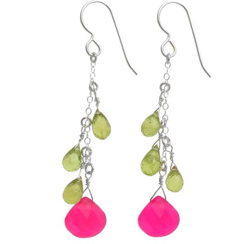 Pink and Green Gemstone Dangle Silver Earrings