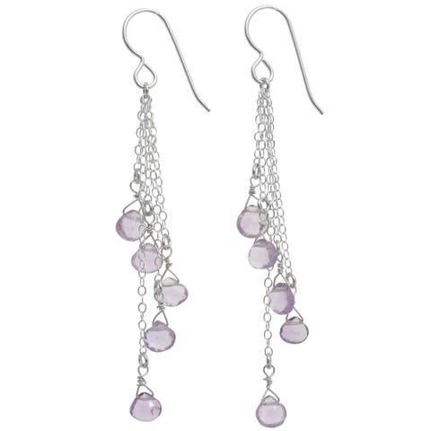 Pink Amethyst Briolette Silver Gemstone Long Earrings