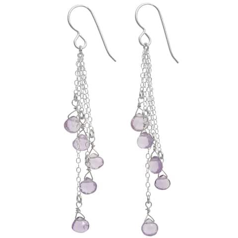 Pink Amethyst Briolette Silver Gemstone Long Earrings