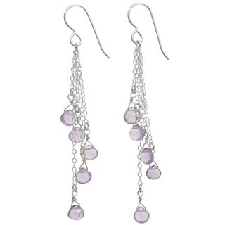 Ashanti Sterling Silver Cascading Pink Amethyst Briolette Earrings (Sri Lanka)