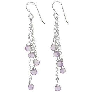 Pink Amethyst Briolette Sterling Silver Gemstone Long Earrings. Ashanti Jewels