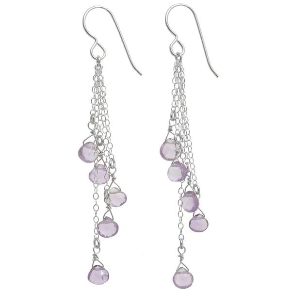 Handmade Pink Amethyst Briolette Silver Gemstone Long Earrings (Sri Lanka). Opens flyout.