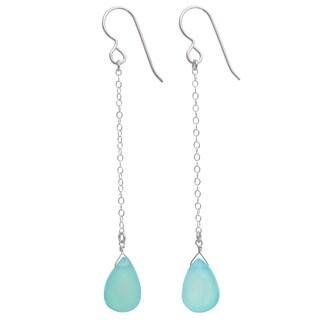 Handmade Ashanti Sterling Silver Caribbean Sea Blue Chalcedony Long Earrings (Sri Lanka) - BABY BLUE