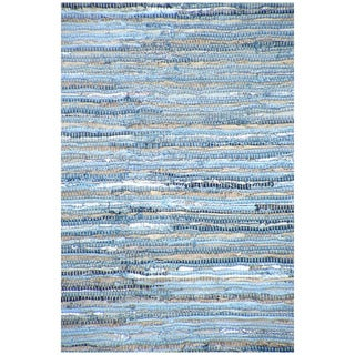 Hand-woven Denim Blue Leather/ Cotton Rug (8' x 11')