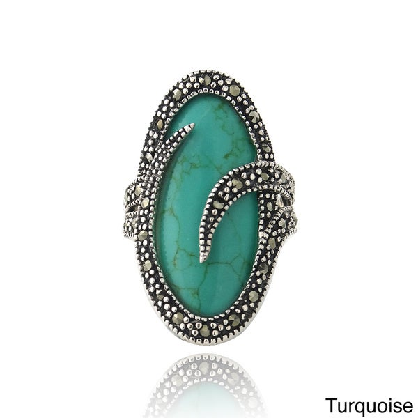 Glitzy Rocks Sterling Silver Turquoise or Onyx Marcasite Oval Ring