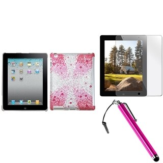 INSTEN Pink Hard Plastic Tablet Case Cover/ Stylus/ Screen Protector for Apple iPad 2/ 3/ 4