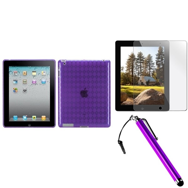 INSTEN Purple Tablet Case Cover/ Stylus/ Screen Protector for Apple iPad 2/ 3/ 4