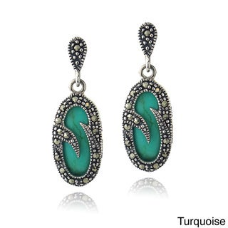 Glitzy Rocks Sterling Silver Turquoise Or Onyx And Marcasite Oval Earrings