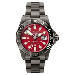 Swiss Army Men S Dive Master 500 Gunmetal Red Dial Watch