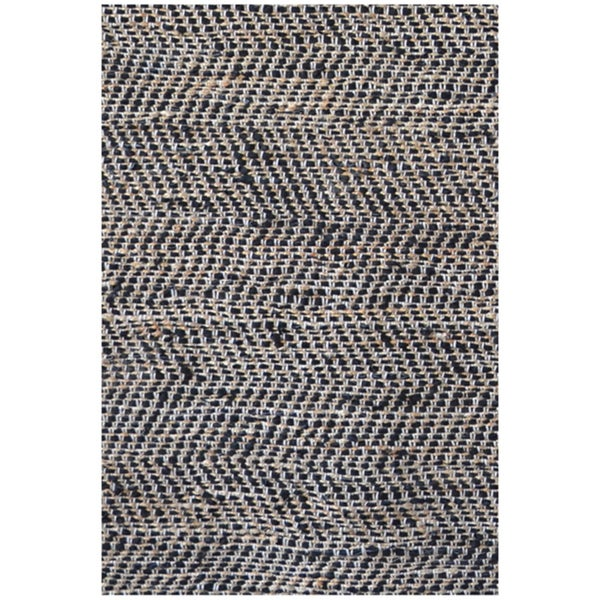 Hand-woven Black Leather/ Jute Rug (5' x 8')