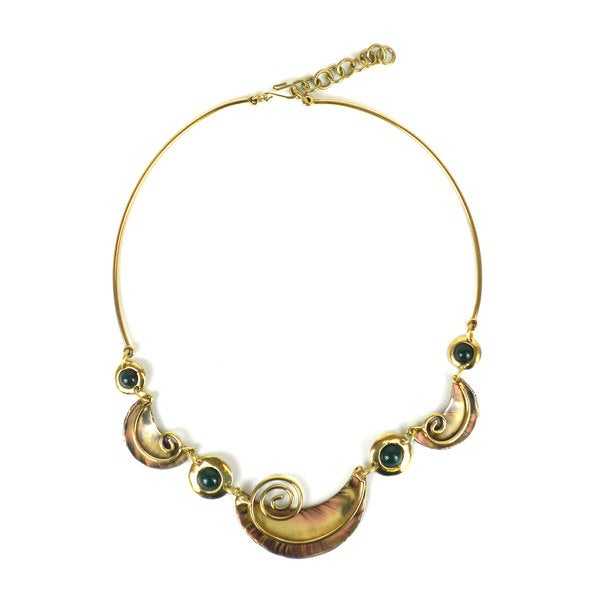 Handmade Crescent and Green Jade Brass Necklace (South Africa)