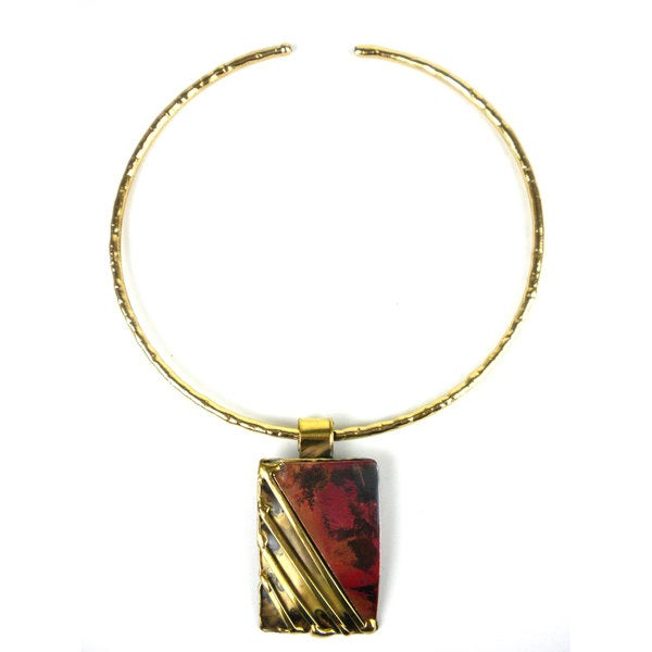 Handmade Lines Drawn Brass and Copper Pendant Necklace (South Africa)