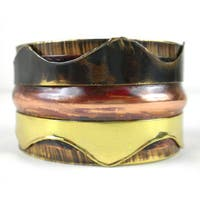 Handmade Triple Copper and Brass Cuff (South Africa)
