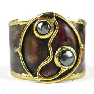 Handcrafted Morpho Hematite and Brass Cuff (South Africa)