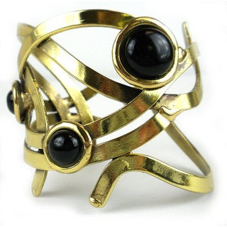"Handcrafted Women's ""Dancing Onyx"" Brass Cuff Bracelet (South Africa)"