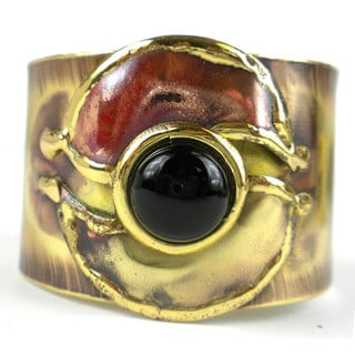Handmade Connections Onyx, Brass and Copper Cuff (South Africa)