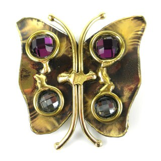 Handmade Brass Butterfly Brooch with Crystals (South Africa)
