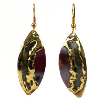 Handmade Women's Copper and Brass Ellipse Dangling Earrings (South Africa)